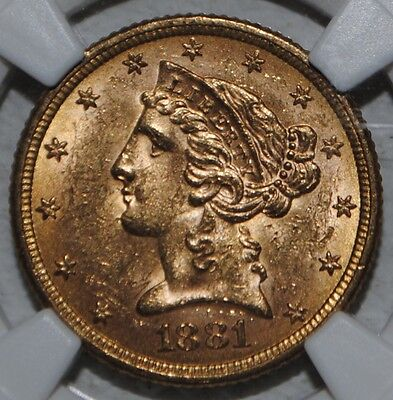 1881 $5 Gold Liberty Head Half Eagle NGC MS 62 United States Coin