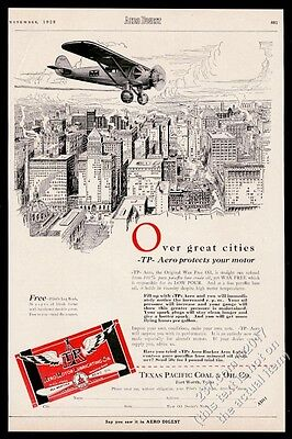 1928 TP Texas Pacific Coal and Oil airplane aero oil vintage print ad