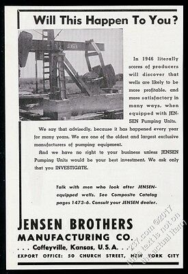 1945 Jensen pumpjack oil well pump jack pumper photo vintage print ad