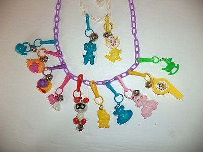 Vintage 1980's Plastic Charm Bell Necklaces Retro Clip On 12 Charms
