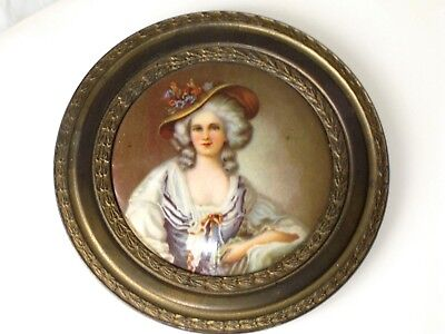 Antique French Lady Portrait Painting Print Box Top / Plaque Bronze Ornate Frame