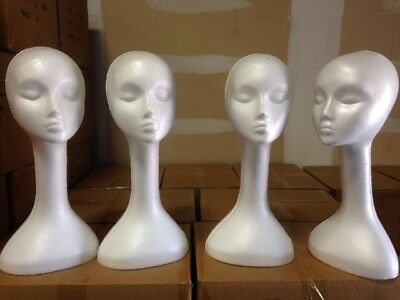 Lot 4 Styrofoam Mannequin Heads Long Neck Wig Display Christmas Props -  White