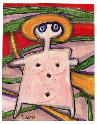 OH LITTLE ME original abstract/folk/outsider? painting J.Swinton Canadian NR