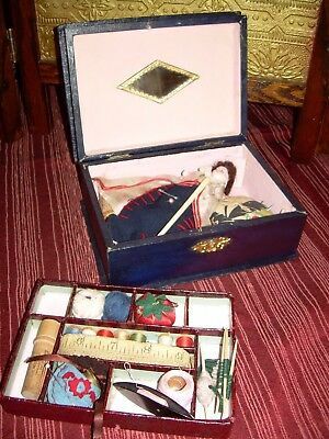Childs Antique Sewing Box! Bisque Doll, Trayed Compartment, Notions & Needlework