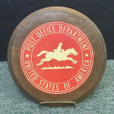1920S? Official U.s. Post Office Department Lg. Wooden Plaque Emblem W/stand