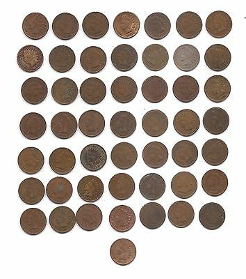 96 VARIOUS COPPER INDIAN HEAD CENTS-VARYING CONDITIONS and DATES--NICE LOT