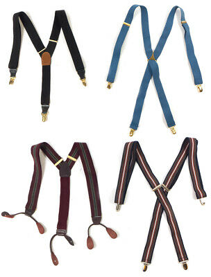 #52 Lot of 4 Vintage Men's Dress Style Mixed Branded Blue, Black Suspenders