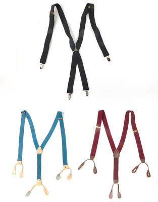 #46 Lot of 3 Vintage Men's Dress Style Mixed Brand Blue, Red, Black Suspsenders