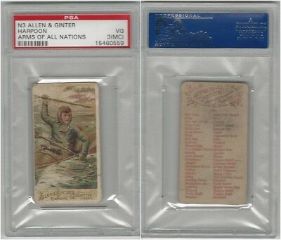 N3 Allen & Ginter, Arms of all Nations, 1887, Harpoon, PSA 3 MC VG