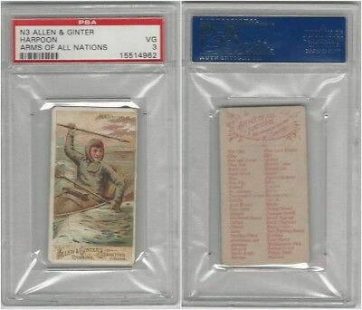 N3 Allen & Ginter, Arms of all Nations, 1887, Harpoon, PSA 3 VG