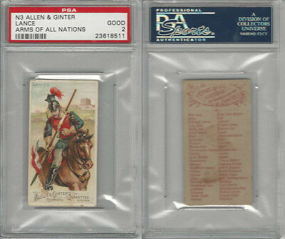 N3 Allen & Ginter, Arms of all Nations, 1887, Lance, PSA 2 Good