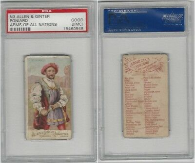 N3 Allen & Ginter, Arms of all Nations, 1887, Poniard, PSA 2 MC Good