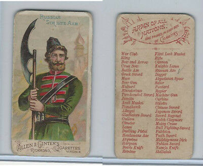 N3 Allen & Ginter, Arms of all Nations, 1887, Russian Strelitz Axe