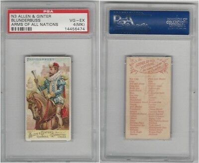N3 Allen & Ginter, Arms of all Nations, 1887, Blunderbus, PSA 4 MK VGEX