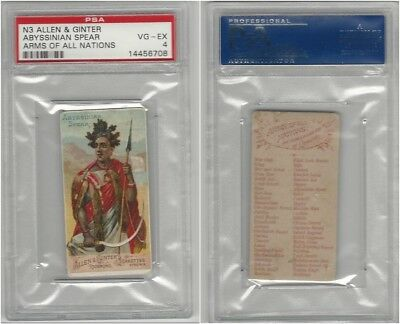 N3 Allen & Ginter, Arms of all Nations, 1887, Abyssinian Spear, PSA 4 VGEX