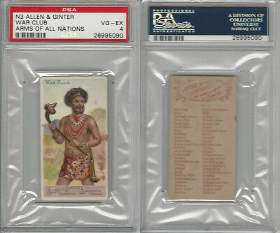 N3 Allen & Ginter, Arms of all Nations, 1887, War Club, PSA 4 VGEX