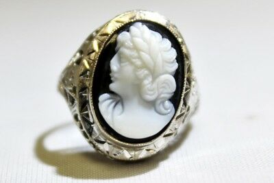 Vintage 14K Solid White Gold Black Onyx Grecian Greek Roman Cameo Filigree Ring