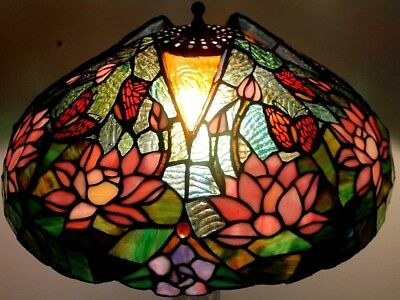 Antique /vintage Tiffany Style Leaded Slag & Stained Glass Lamp W/ Embossed Base