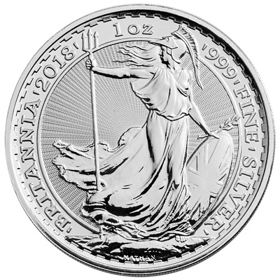 2018 U.K. 2 Pound Silver Britannia .999 1 oz Brilliant Uncirculated