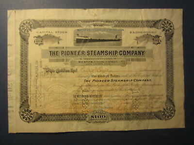 1913 - PIONEER STEAMSHIP COMPANY - Stock Certificate - MENTOR - LAKE COUNTY OHIO