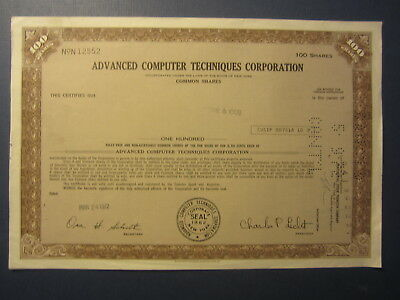 Old 1972 - ADVANCE COMPUTER TECHNIQUES CORP. - Stock Certificate - New York
