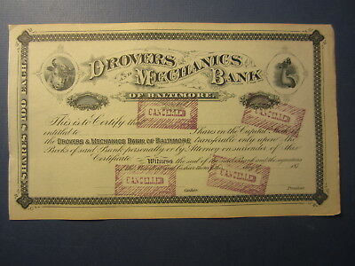 Old 1870's - DROVERS and MECHANICS BANK of BALTIMORE - Stock Certificate