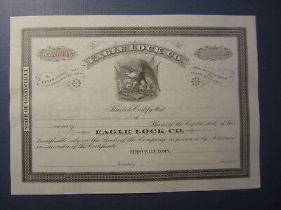Old Antique - EAGLE LOCK Co. Stock Certificate - Terryville Connecticut - CONN.