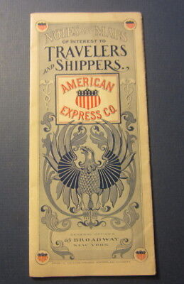Old 1899 AMERICAN EXPRESS Co. - Notes & Maps for TRAVELERS and SHIPPERS Brochure