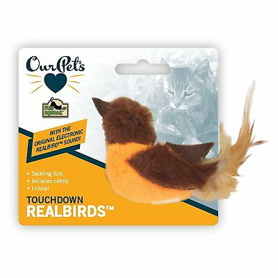 Ourpets Catnip Real Birds Chirp Squeaky Cat Toy Toughdown Oriole. Free Ship Usa