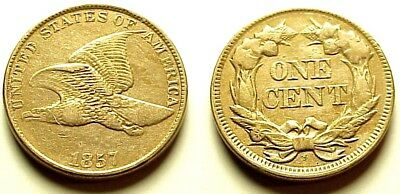 A/u 1857 Flying Eagle Cent- Great Reverse Line+Feather Details! Free Shipping!