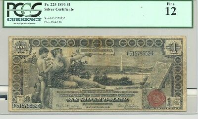 $1 Series 1896 Educational Silver Certificate in nice condition (PCGS Fine 12)