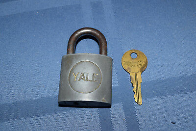 Vintage Old Brass Yale Padlock & with Original Taylor Y12 Key