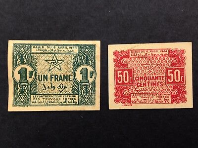 MOROCCO (2 Notes)  50 Centimes and 1 Franc  1944