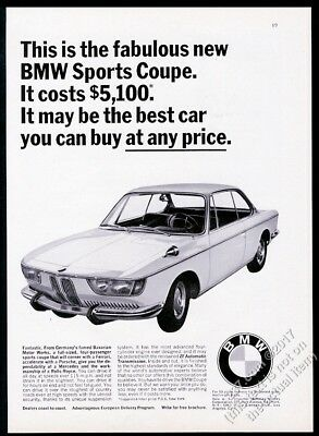 1966 BMW Sports Coupe car photo vintage print ad