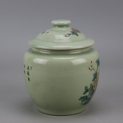 Chinese old porcelain famille rose glaze bird & flower pattern tea caddy H