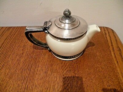 Hall China Teapot Carlyle Reed And Barton Silver Trim