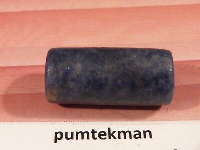 Pre-Columbian Tianaku [ Bolivia ] Blue Sodalite Tube Bead 18.7 By 8.8 Mm