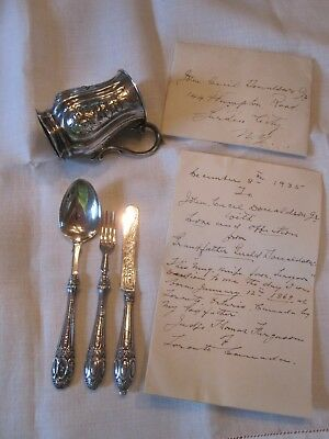 Antique George Unite Birmingham Sterling Silver Baby Porringer Cup Cutlery 1864