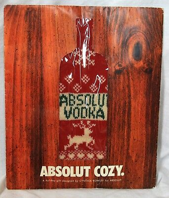 Absolut vodka bottle Cozy by Cynthia Rowley 2001 holiday gift sweater