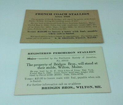 Antique Bridges Bros French Coach & Registered Percheron Stallion Stud Cards