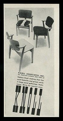 1949 Knoll modern stacking 3 chair photo vintage print ad