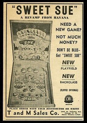 1948 Sweet Sue pinball machine photo T and M sales vintage trade ad