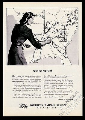 1946 Southern Railway System map woman with pins art vintage print ad