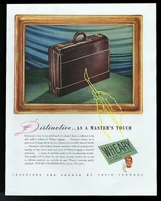 1945 Wheary luggage leather suitcase color photo vintage print ad