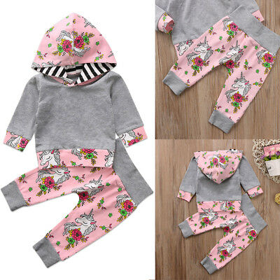 UK Stock Unicorn Kids Infant Baby Girl Outfits Clothes Hooded T-shirt Tops+Pants