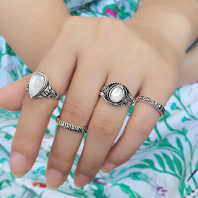 Vintage Antique Silver Tone Opal Stone Metal Five Finger Ring Set Jewelry 8pcs