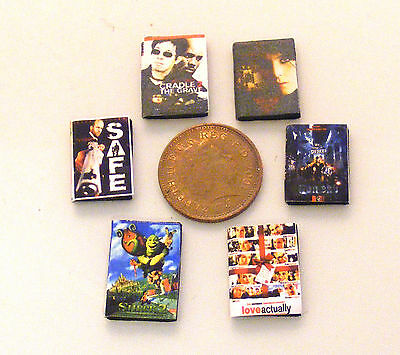 1:12 Scale Set Of Six Assorted DVD Covers Dolls House Miniature Accessory