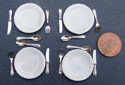 1:12 Scale Set Of 4 Ceramic Plates & Cutlery Dolls House Miniature Accessories