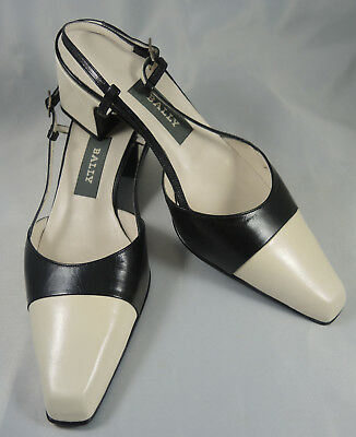 Vintage New Old Stock Bally Soft Leather Two Tone Sling Back Shoes Cream & Black