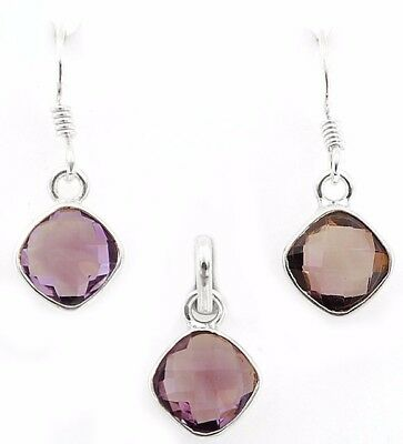 4CT Amethyst 925 Solid Sterling Silver Earrings Pendant Set Jewelry R12